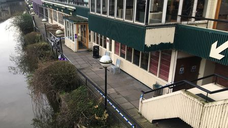 Police sealed off part of the area around the River Wensum and the Hotel Nelson. Pic:ture: Archant.