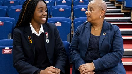 Baroness Doreen Lawrence with Norwich School pupil Alice Nnene. Picture: Hannah Hutchins