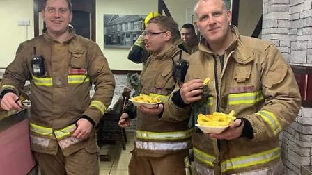Firefighters being fed at Atlantish Fish Bar while they worked hard to tackle a blaze which destroye