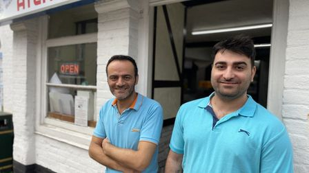 Okan Ucar, Atlantis Fish Bar manager, and his Chef Ozzy Oscar, fed firefigthters during a blaze whic