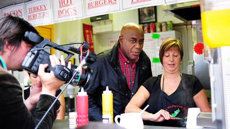 Ainsley Harriott filming at The Mushy Pea Stall at Norwich Market with Anita Adcock in 2011 for the