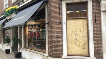 Jonathan Trumbull store following the recent raid; PIC: Peter Walsh.