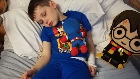 Sonny Pope-Saunders, six, who has been diagnosed with diffuse intrinsic pontine glioma - an aggressi