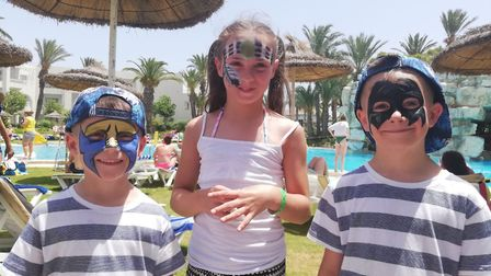 Sonny Pope-Saunders, six, (left) with his sister Star Pope-Saunders, 10, and Hudson Pope-Saunders, s