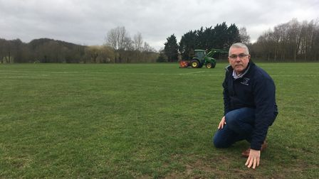 Martin Matthews, chairman of Costessey Sports Club, on Longwater Lane Park where there was an infest