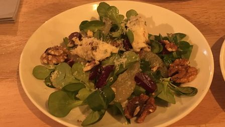 The pear, beetroot, walnut and gorgonzola salad is a nice idea but is rather ungenerous with its pea