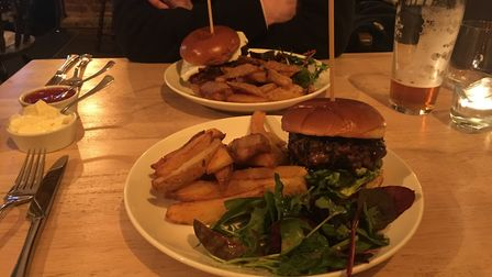 The burgers come with while the thoughtful accompaniments like the Binham Blue and black garlic aiol