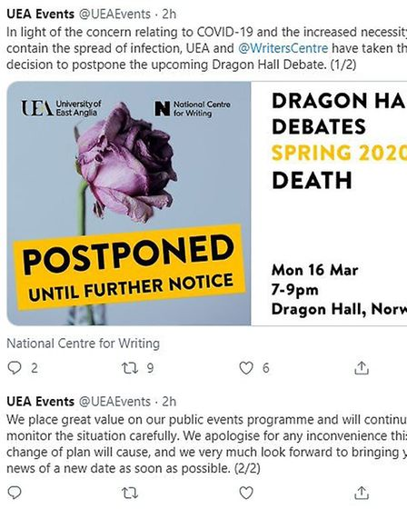 One of the University of East Anglia events that have either been postponed or cancelled over corona
