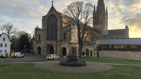 The body of a woman was found at Norwich Cathedral. Picture: Daniel Moxon