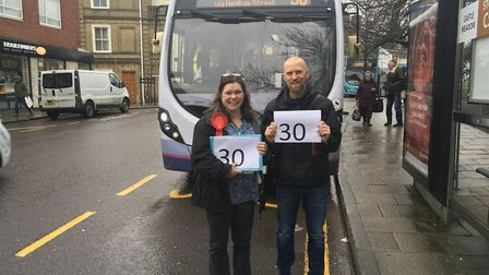 Joanna Smith and Rowan Shingler want to see a bid to enhance the First number 30 service. Pic: Danny