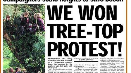 The front page of the Evening News on February 3, 1998, when protestors saved the beech tree off New