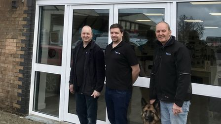 From left to right Graham Bell, Martin Loades, Anglian Internet dog Petra and Glen Minter. Picture: