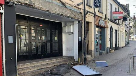 The sign of Reload Gaming Lounge and Bar in Norwich was destroyed in windy conditions Picture: Submi