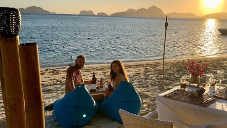 Lewis Smith and Emma Howard are stuck in the Philippines resort of El Nido due to flights being canc