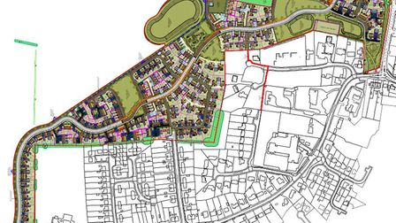 A masterplan showing where 267 homes could be built on Manor Park in Drayton. Picture: Hopkins Homes