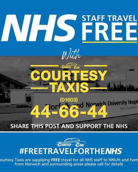 Courtesy Taxis are running a free service for NHS staff at the Norfolk & Norwich University Hospital