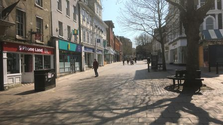Gentleman's Walk in Norwich at midday on Easter Saturday. Picture: Simon Parkin