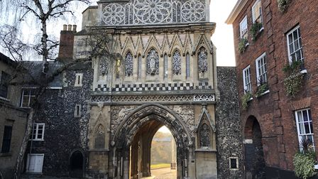 According to Hugh Aldersey-Williams, to the left of St Ethelbert's Gate the carved doorway of the wh