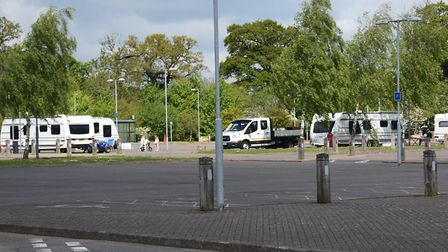 Travellers have arrived and moved into the Sprowston Park & Ride, which is closed during the Coronav