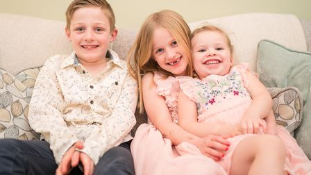 Isaac Berry, Millie Berry and Grace Berry have raised £900 for Nelsons Journey. Picture: Richard Jar