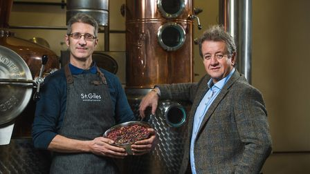 L-R head distiller Pete Margree and founding director of St. Giles Distillery Simon Melton Picture: