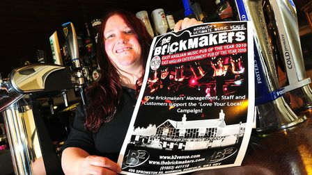 The Brickmakers pub landlady Charley South who is hoping to raise £8,000 to keep the pub afloat Pict