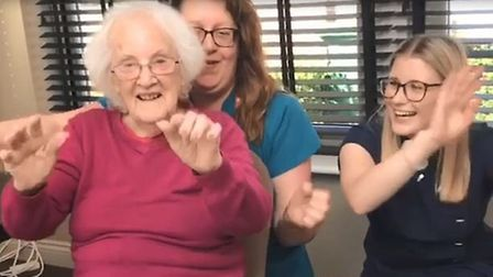 Residents and staff at the care home in Norwich danced to Reach for the Stars by S Club 7. Picture: