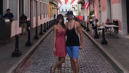 Lauren Carrick and her parter Joseph Harrison, who are stranded on a cruise ship in the Bahamas. Pic