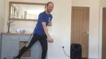 Matt Philpott, of ATP Health and Fitness Norwich, demonstrates the skating exercise, a cardio elemen