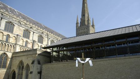 Norwich Cathedal closed because of coronavirus on Easter Sunday. Picture: Simon Parkin