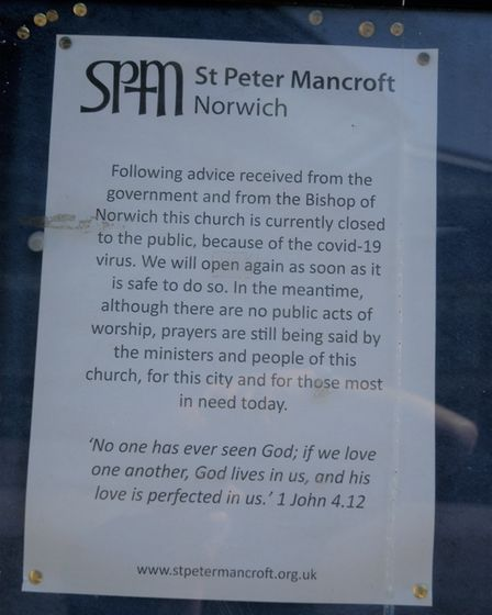 Coronavirus notice at St Peter Mancroft which was closed to worshippers on Easter Sunday. Picture: S