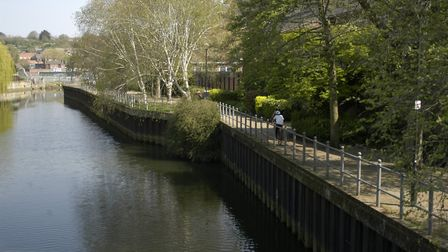 Walks and cyclists on Riverside Walk in Norwich on Easter Sunday. Picture: Simon Parkin