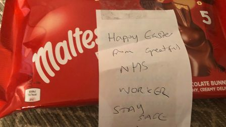 The NHS worker left some chocolates and a note, to say thank you for the appreciation. Picture: Lucy