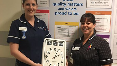 One of the donated dementia-friendly clocks received by NNUH. Picture: NNUH Charity/Twitter