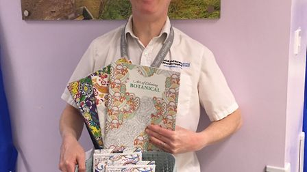 Colouring books donated to NNUH. Picture: NNUH Charity/Twitter