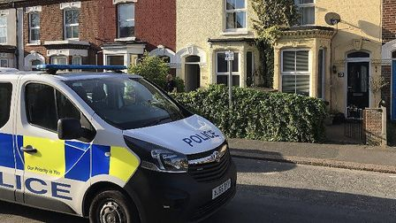 Police attended the scene at Kerrison Road, Norwich. Pic: Archant