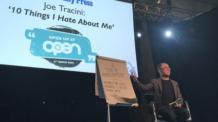 Actor and comedian Joe Tracini spoke candidly about his mental health struggles at the Open Up event