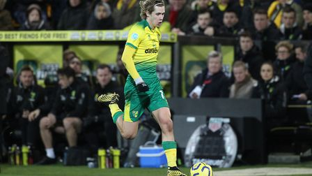 Todd Cantwell of Norwich in action during the Premier League match at Carrow Road, NorwichPicture by