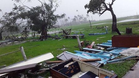 Homes have been completely destroyed in Fiji by the category five storm. Picture: Emily Rash