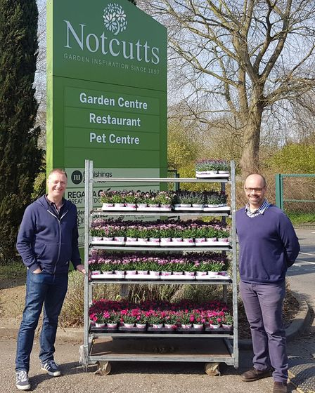 Richard Greenacre, General Manager, Notcutts Garden Centre and Hugo Stevenson, Head of Fundraising a