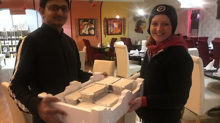 One of the deliveries to frontline NHS staff from Namaste Village Indian restaurant in Norwich. Pict