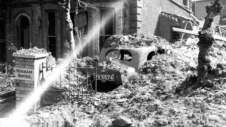 Bomb damage at Heigham House, West Parade, off Earlham Road. April 30, 1942 Picture: Archant Librar