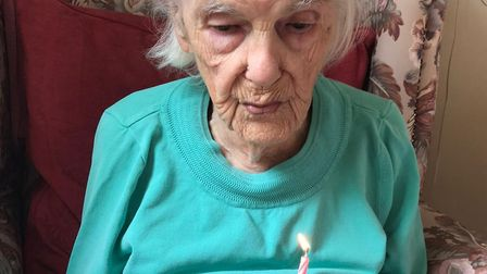 Annie Nicholls marked her 103rd birthday with a cake at Thomas Tawell House, Vision Norfolks care ho