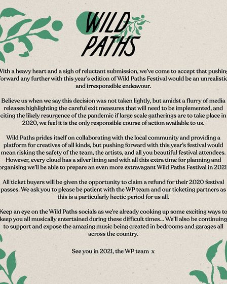 Wild Paths Festival 2020 has been cancelled. Picture: Wild Paths Festival