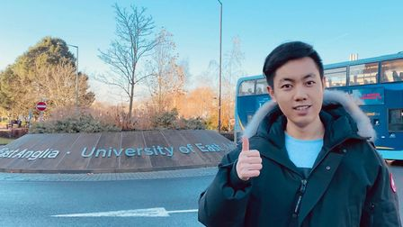 University of East Anglia student Songze Chang who has been giving out face masks to people in Norwi
