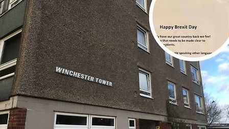 Winchester Tower in Norwich, where a racist poster was put up on Brexit Day. Picture: Archant