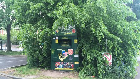 The Salvation Army Earlham House Shops clothes bank, now clear of fly-tipping. Picture: Staff