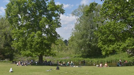 People flock to the Norwich Earlham Park due to hot weather. Since lockdown restrcitions have been a