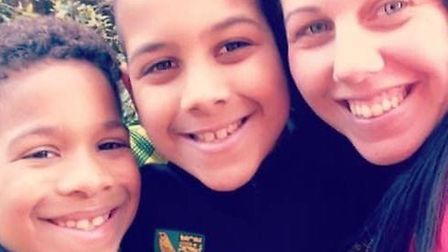 Nathan Harris, now eight, with his brother Leon and mum Louise, Picture: Louise Harris