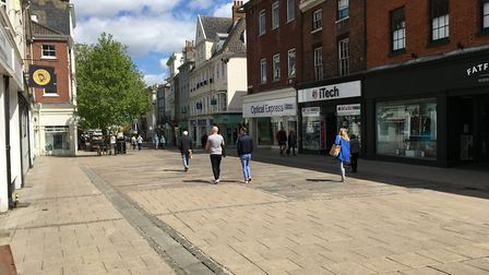 Gentleman's Walk in Norwich at lunchtime on Saturday, May 16. Picture: Sophie Wyllie